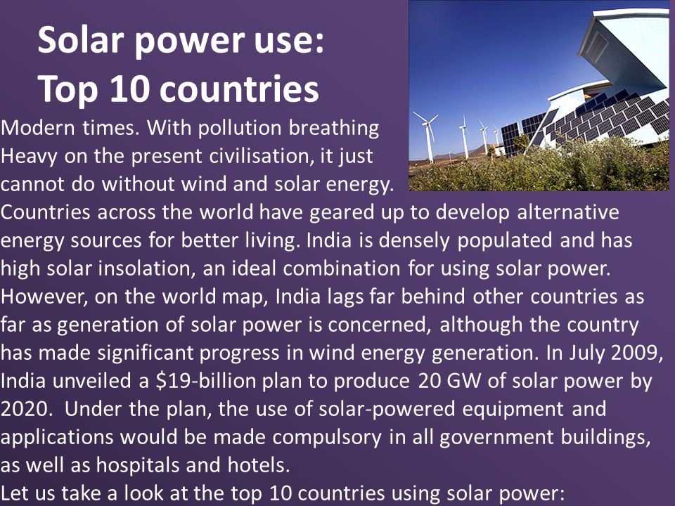 Solar power use: Top 10 countries