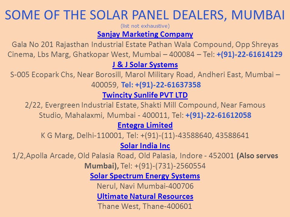 SOME OF THE SOLAR PANEL DEALERS, MUMBAI