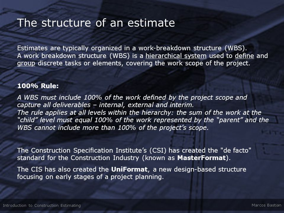 The structure of an estimate