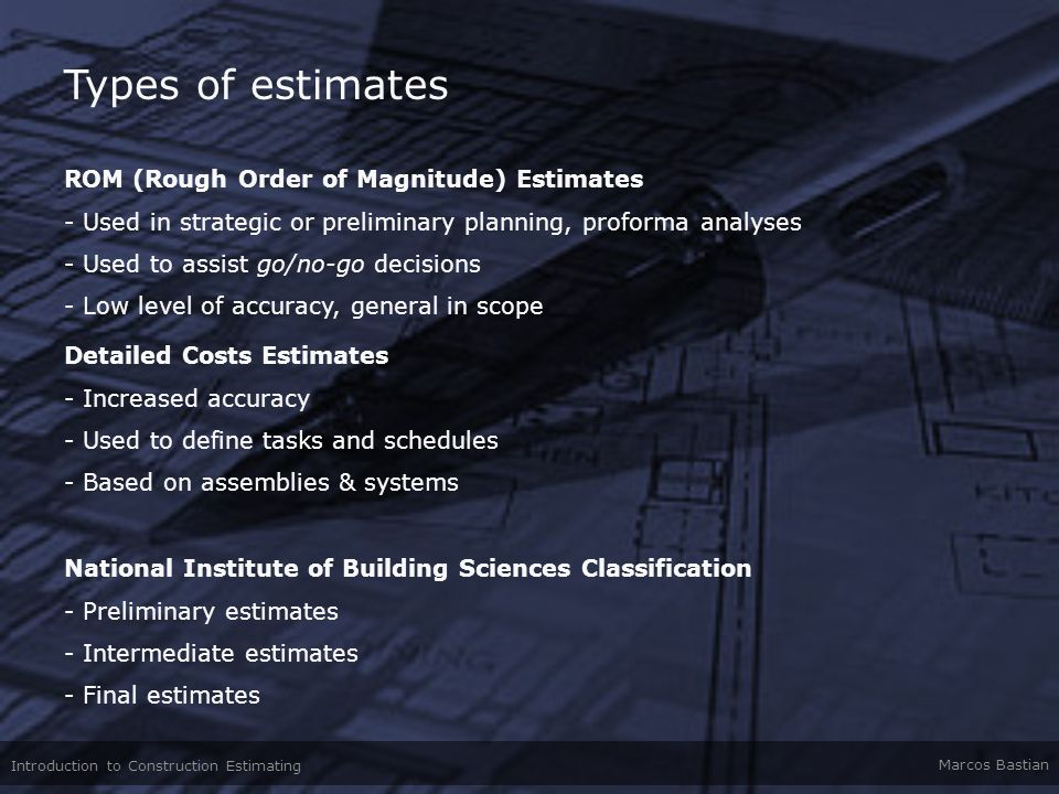 Types of estimates ROM (Rough Order of Magnitude) Estimates