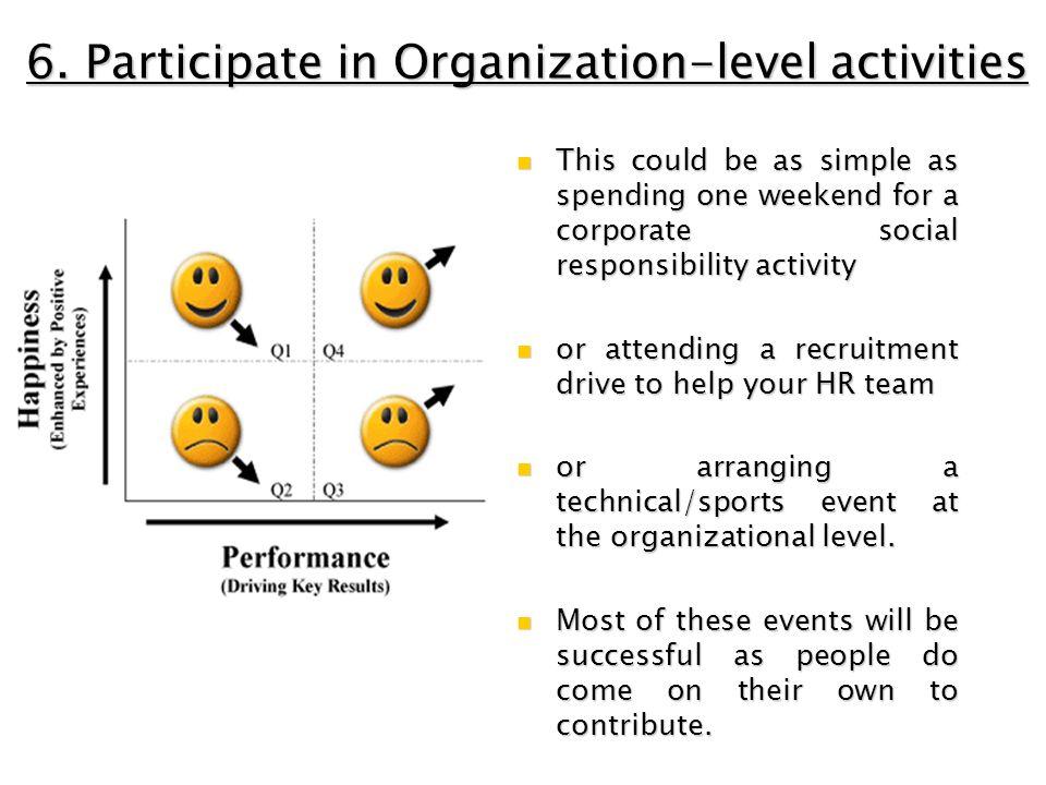 6. Participate in Organization-level activities