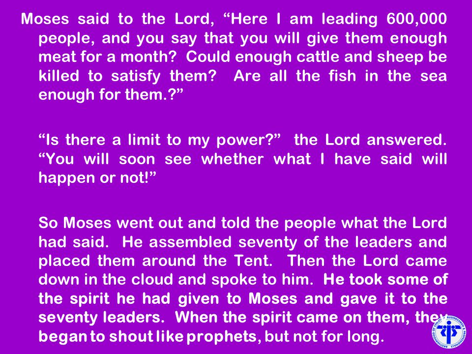 Moses said to the Lord, Here I am leading 600,000 people, and you say that you will give them enough meat for a month Could enough cattle and sheep be killed to satisfy them Are all the fish in the sea enough for them.
