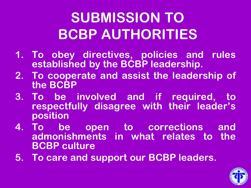 SUBMISSION TO BCBP AUTHORITIES