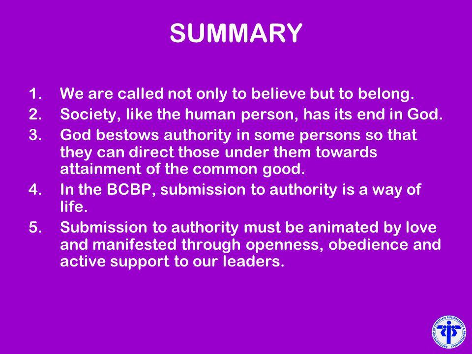 SUMMARY We are called not only to believe but to belong.
