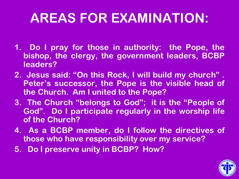 AREAS FOR EXAMINATION: