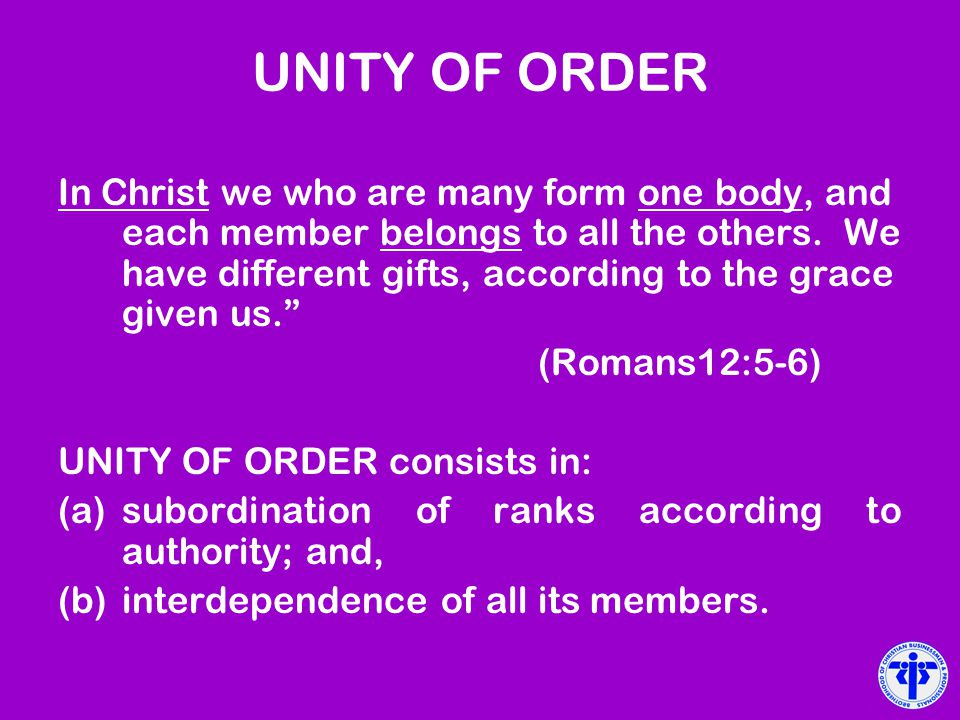 UNITY OF ORDER