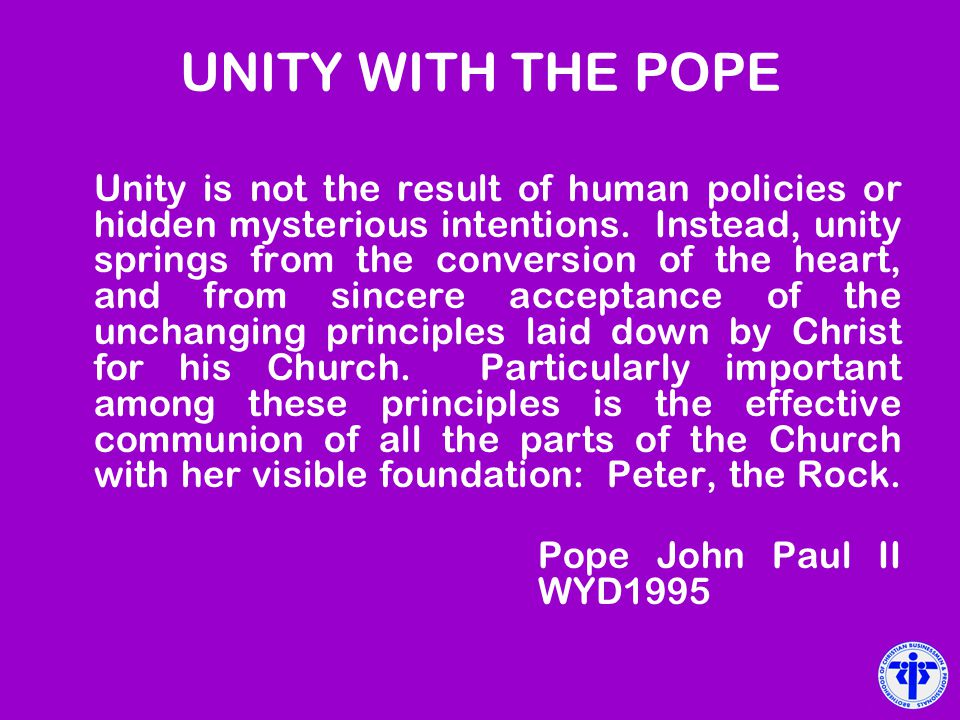 UNITY WITH THE POPE