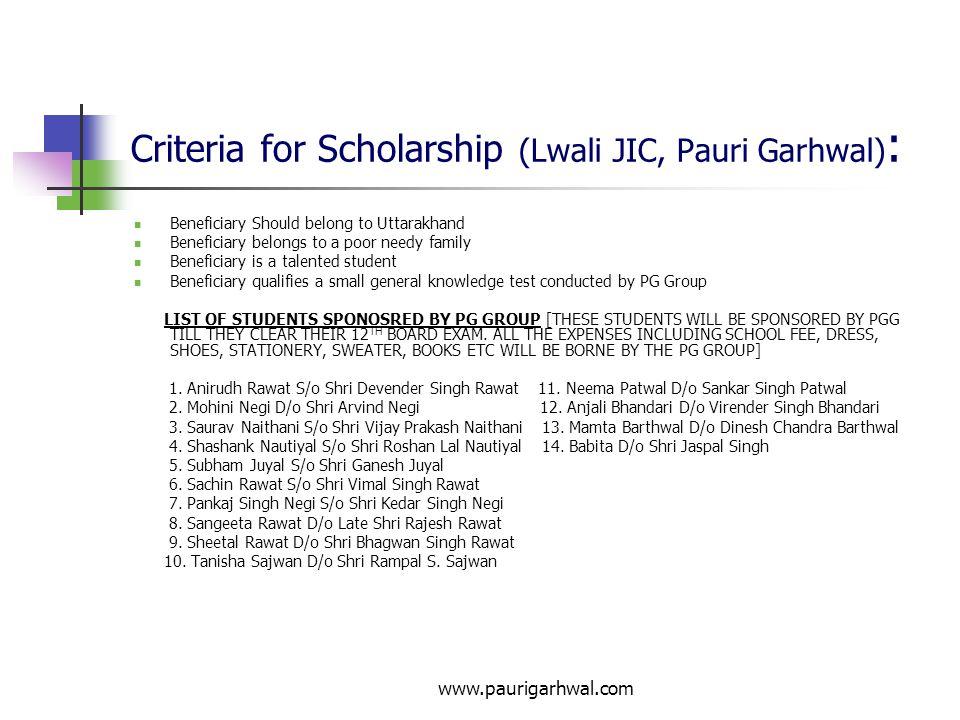 Criteria for Scholarship (Lwali JIC, Pauri Garhwal):
