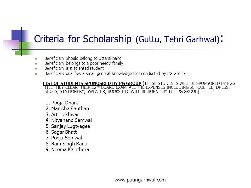 Criteria for Scholarship (Guttu, Tehri Garhwal):