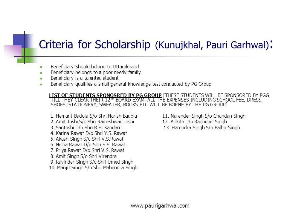 Criteria for Scholarship (Kunujkhal, Pauri Garhwal):