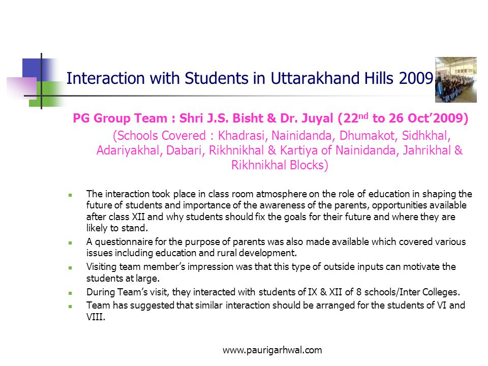 Interaction with Students in Uttarakhand Hills 2009