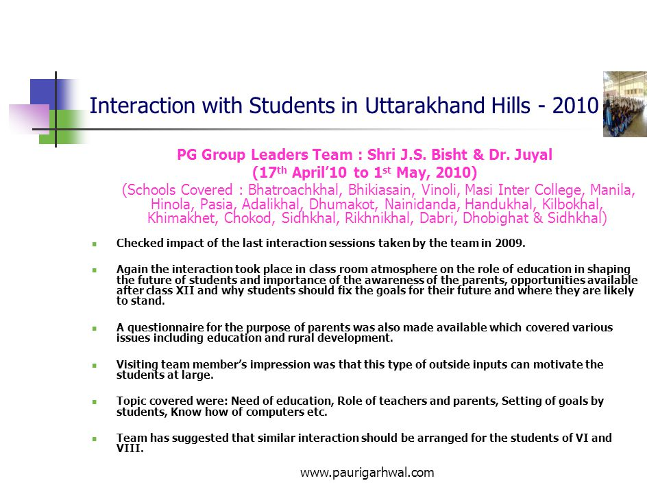 Interaction with Students in Uttarakhand Hills - 2010