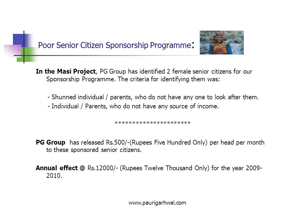 Poor Senior Citizen Sponsorship Programme: