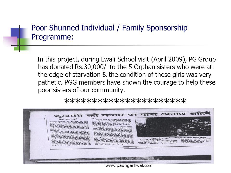 Poor Shunned Individual / Family Sponsorship Programme: