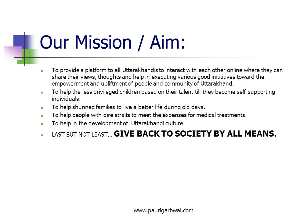 Our Mission / Aim: