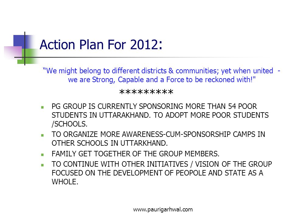 Action Plan For 2012: *********