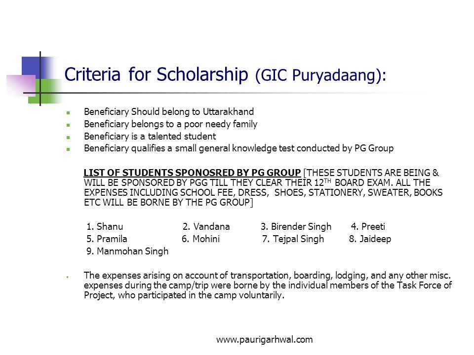 Criteria for Scholarship (GIC Puryadaang):