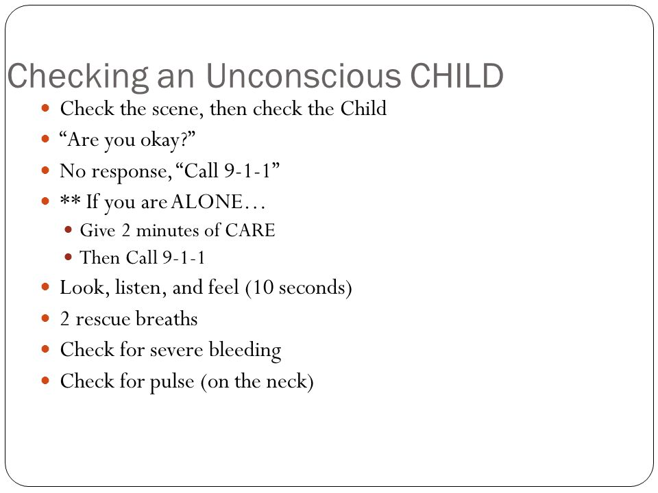Checking an Unconscious CHILD