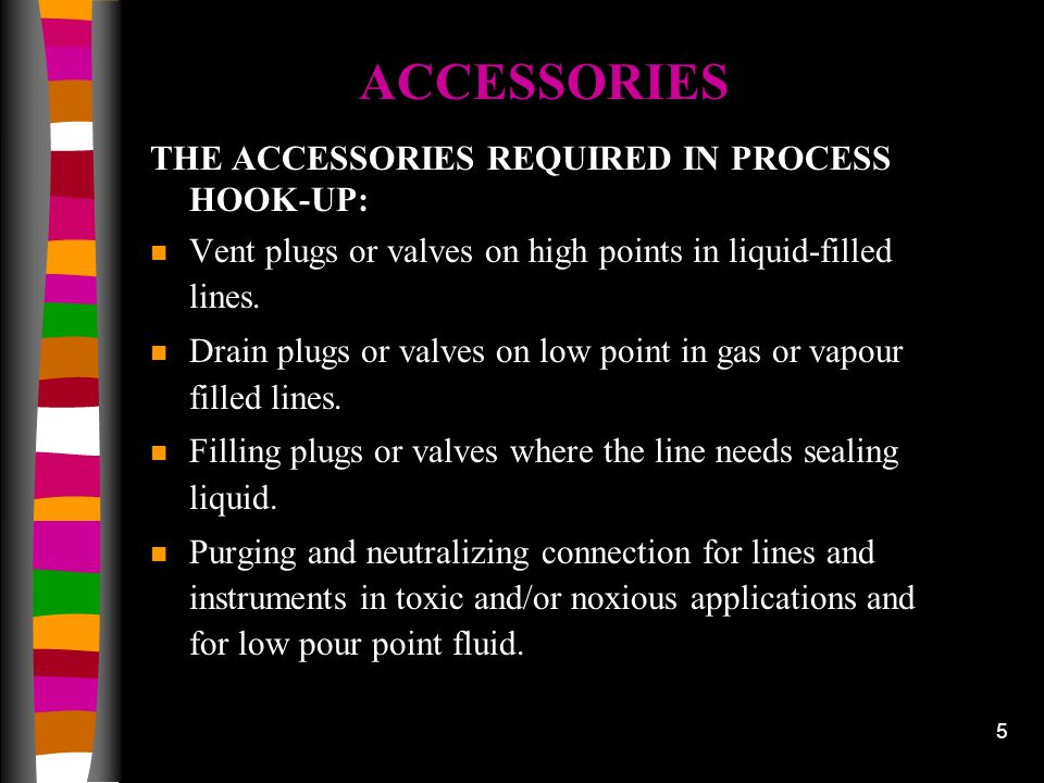 ACCESSORIES THE ACCESSORIES REQUIRED IN PROCESS HOOK-UP: