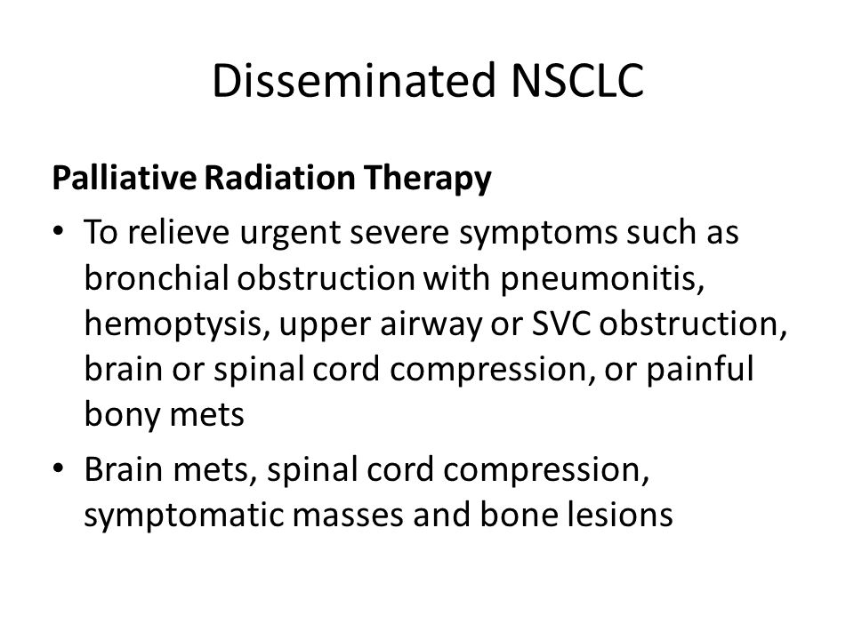 Disseminated NSCLC Palliative Radiation Therapy