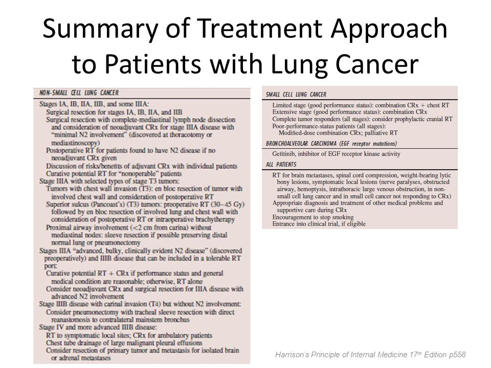 Summary of Treatment Approach to Patients with Lung Cancer