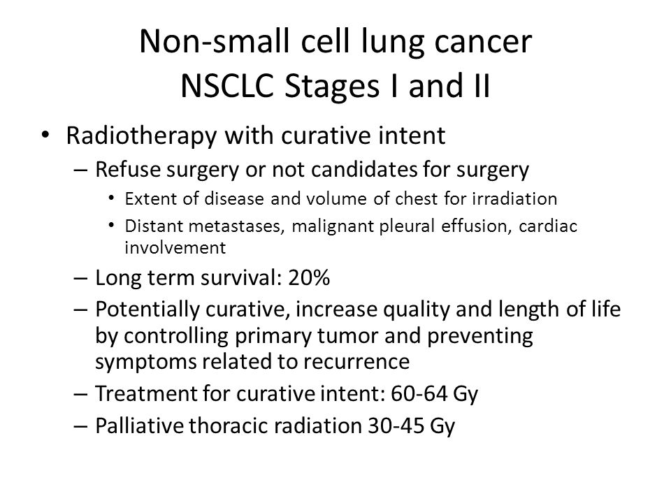 Non-small cell lung cancer NSCLC Stages I and II