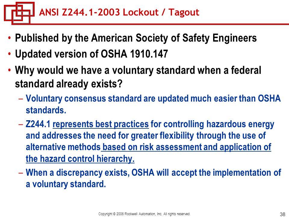 ANSI Z244.1-2003 Lockout / Tagout