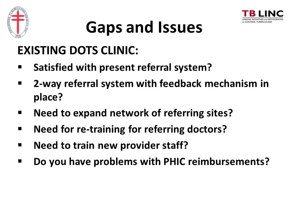 Gaps and Issues EXISTING DOTS CLINIC: