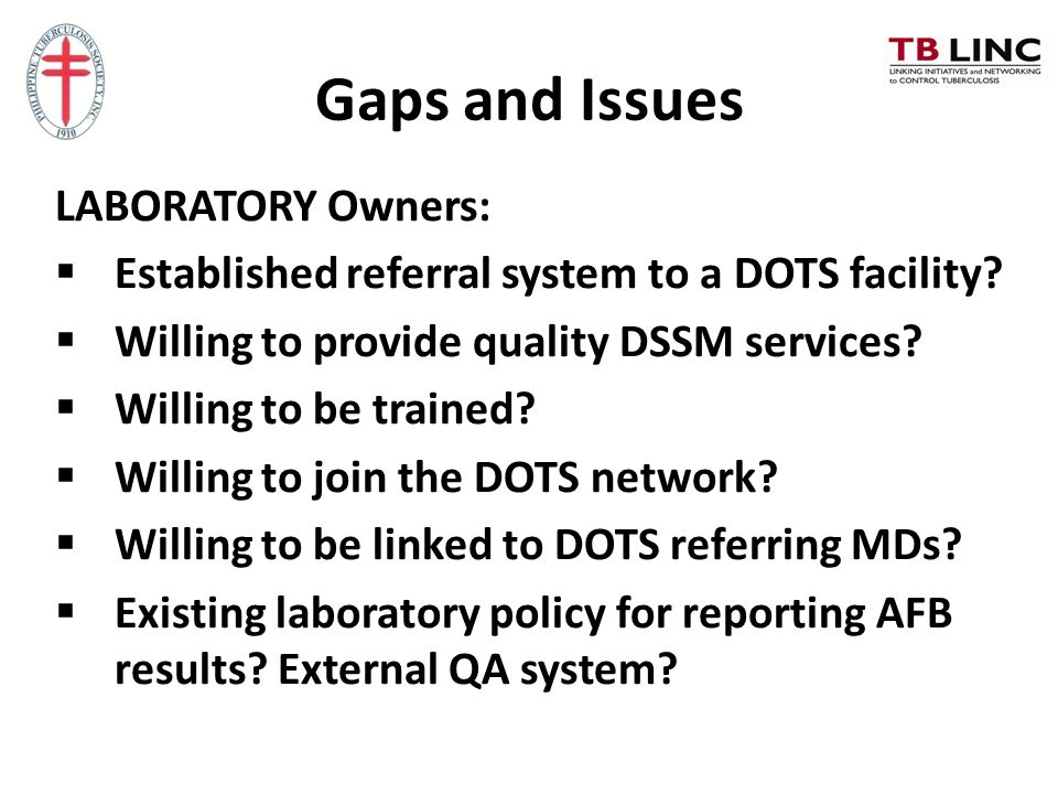Gaps and Issues LABORATORY Owners: