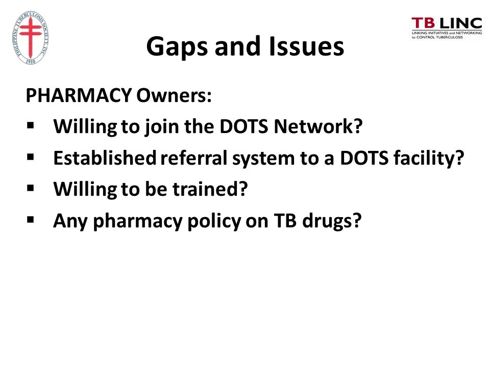 Gaps and Issues PHARMACY Owners: Willing to join the DOTS Network