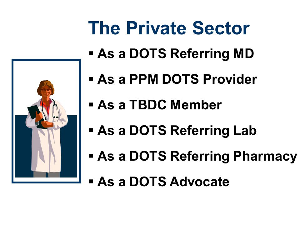The Private Sector As a DOTS Referring MD As a PPM DOTS Provider
