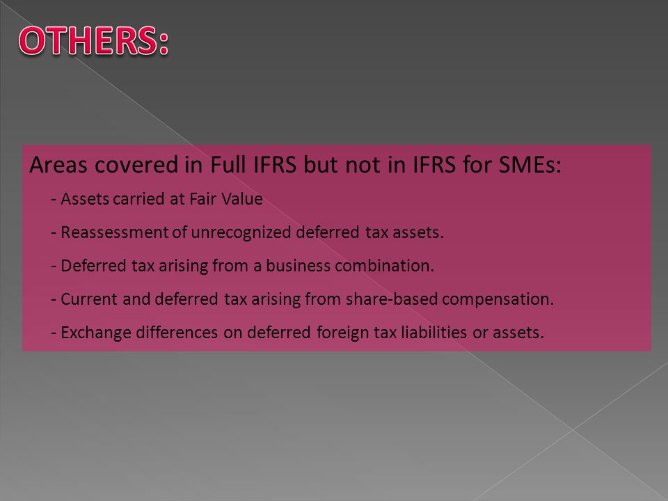 OTHERS: Areas covered in Full IFRS but not in IFRS for SMEs: