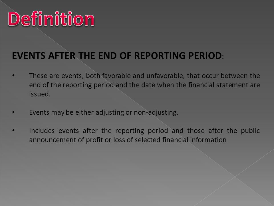 Definition EVENTS AFTER THE END OF REPORTING PERIOD: