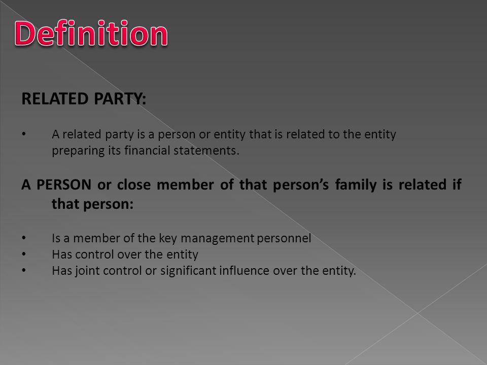 Definition RELATED PARTY: