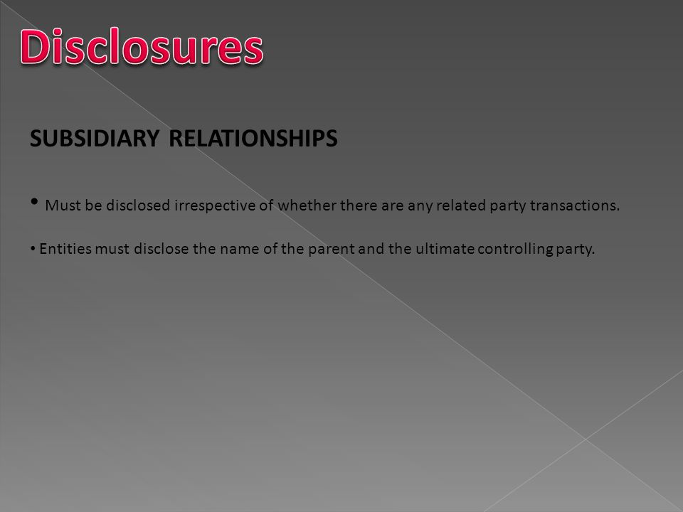 Disclosures SUBSIDIARY RELATIONSHIPS