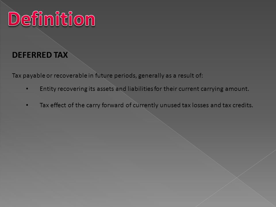 Definition DEFERRED TAX