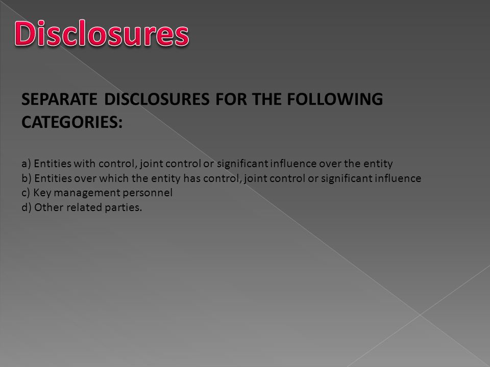 Disclosures SEPARATE DISCLOSURES FOR THE FOLLOWING CATEGORIES: