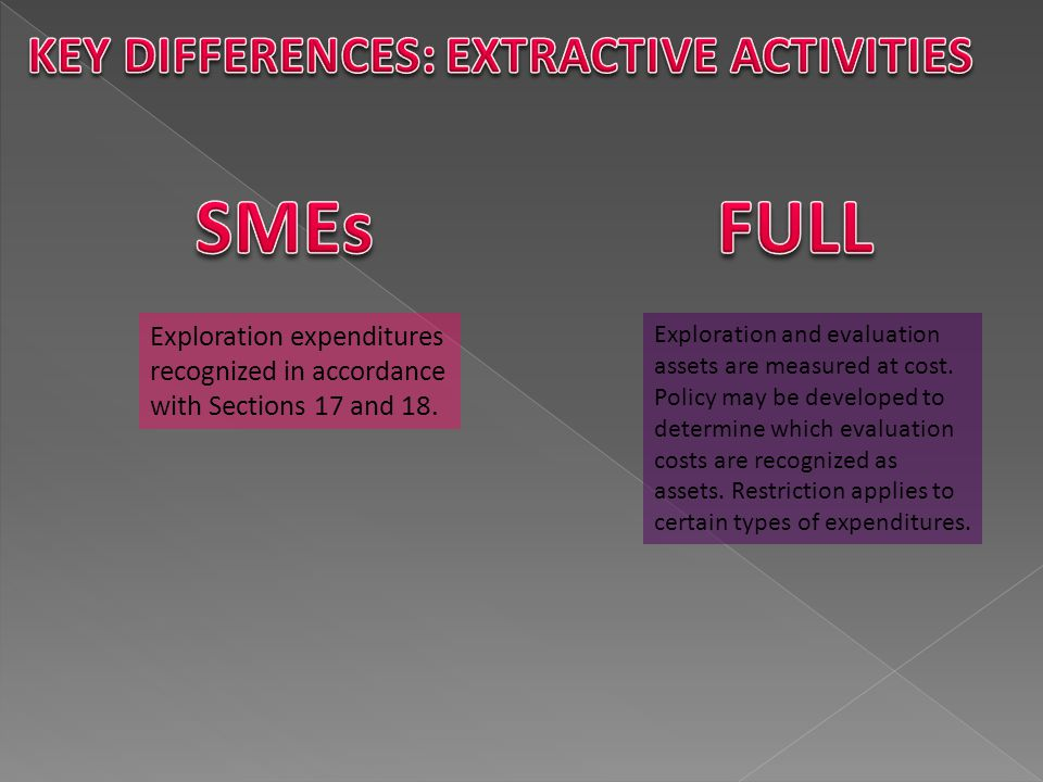 SMEs FULL KEY DIFFERENCES: EXTRACTIVE ACTIVITIES