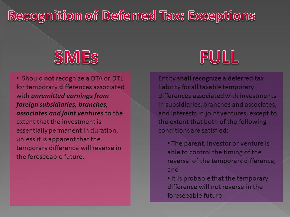 SMEs FULL Recognition of Deferred Tax: Exceptions