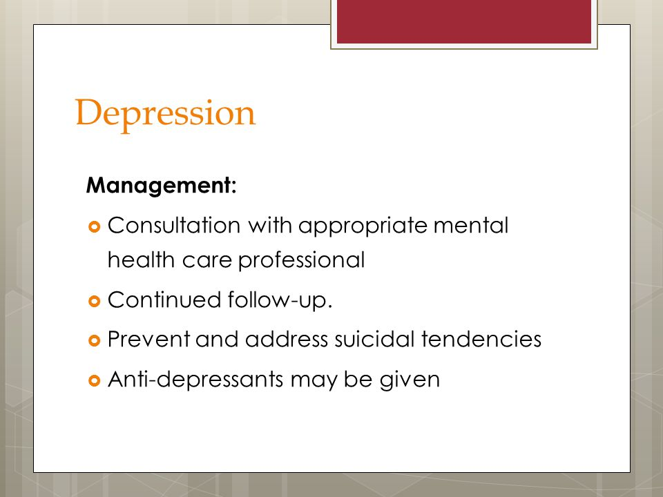 Depression Management: