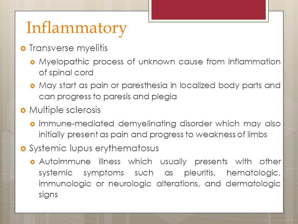 Inflammatory Transverse myelitis Multiple sclerosis