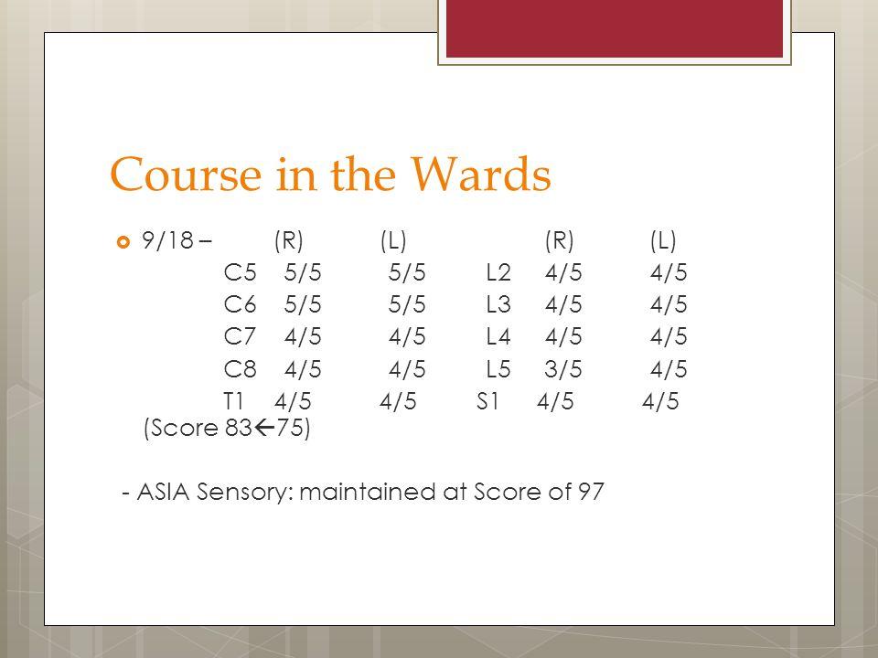 Course in the Wards 9/18 – (R) (L) (R) (L) C5 5/5 5/5 L2 4/5 4/5