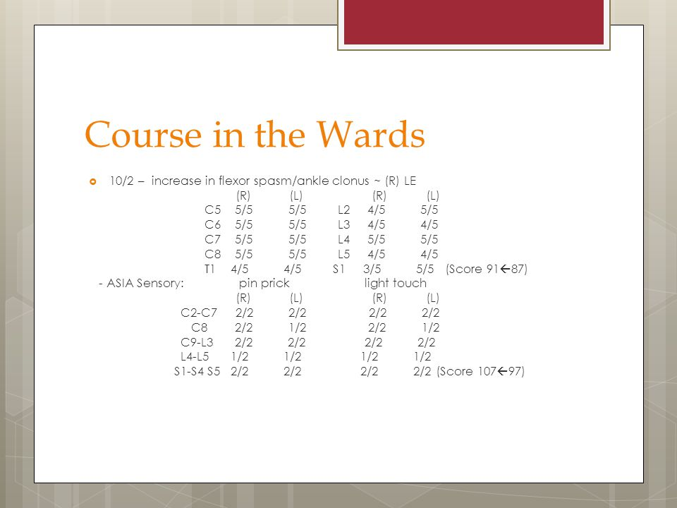 Course in the Wards 10/2 – increase in flexor spasm/ankle clonus ~ (R) LE. (R) (L) (R) (L)