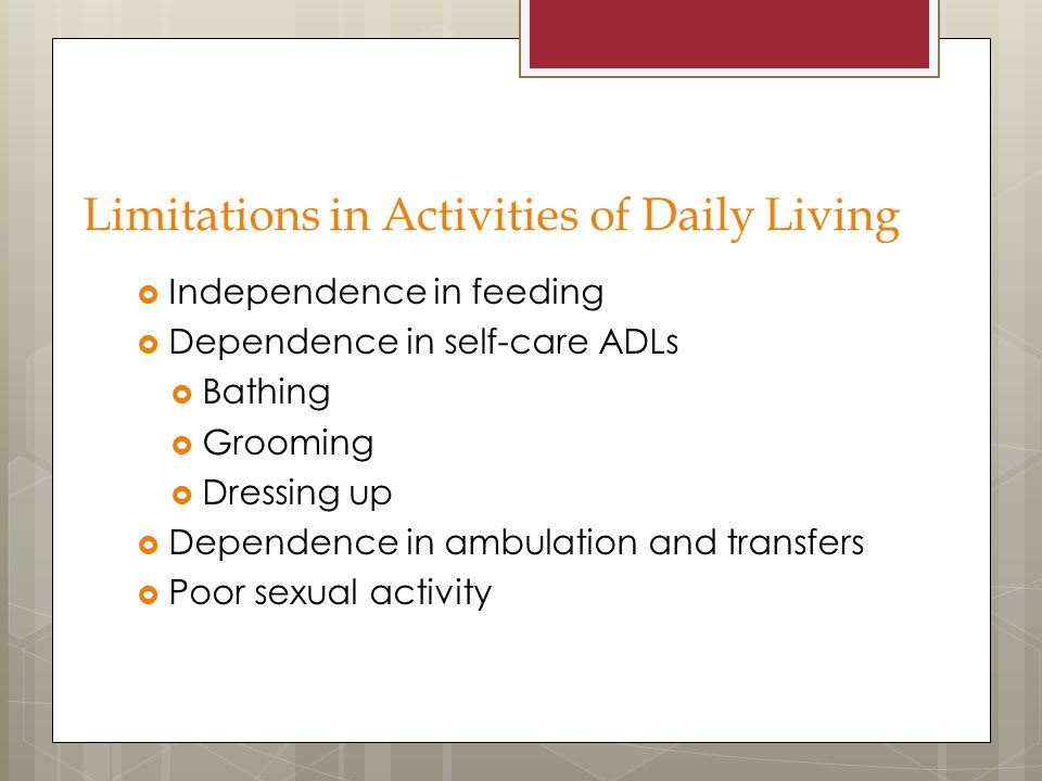 Limitations in Activities of Daily Living