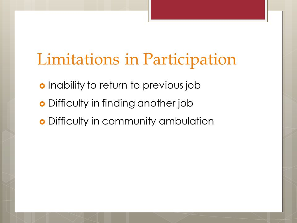 Limitations in Participation
