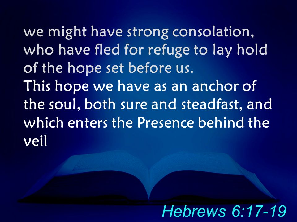 we might have strong consolation, who have fled for refuge to lay hold of the hope set before us.