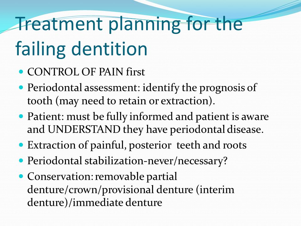Treatment planning for the failing dentition