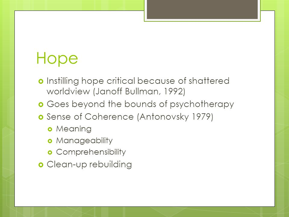 Hope Instilling hope critical because of shattered worldview (Janoff Bullman, 1992) Goes beyond the bounds of psychotherapy.