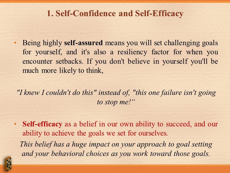 1. Self-Confidence and Self-Efficacy