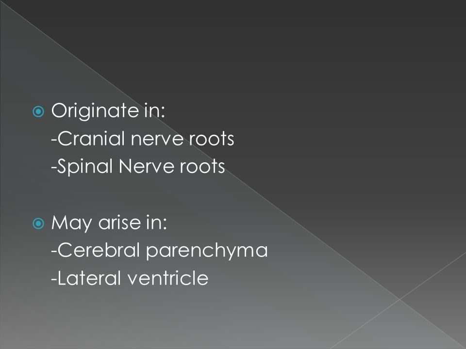 Originate in: -Cranial nerve roots. -Spinal Nerve roots.